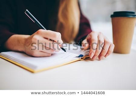 csekk · lista · jegyzettömb · ceruza · piros · iroda - stock fotó © fuzzbones0
