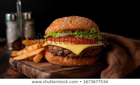 Amerikai hamburger ízletes hamburger gőz forma Stock fotó © coolgraphic