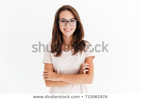 seksi · kadın · poz · beyaz · gömlek · seksi · moda - stok fotoğraf © deandrobot