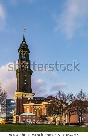 evening view at Michelwiese with St. Michaelis in evening light Stock photo © meinzahn