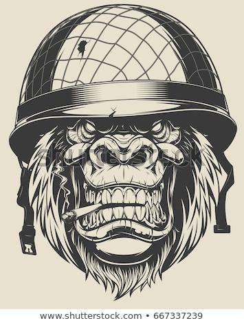 funny · amerykański · żołnierz · ilustracja · łatwe - zdjęcia stock © DzoniBeCool
