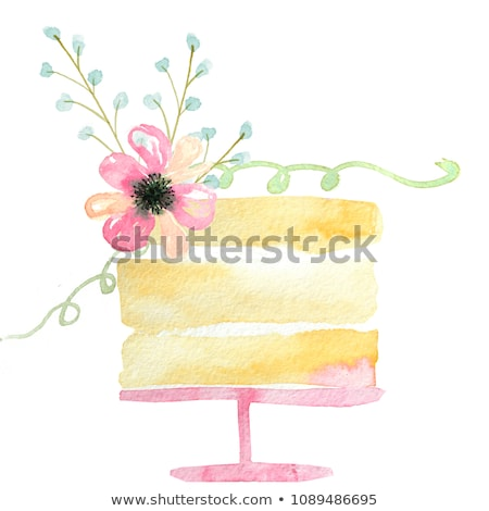 watercolor cupcake isolated on white hand drawn illustration stock photo © trishamcmillan