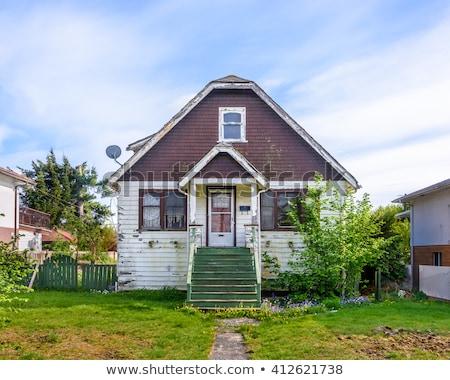 Stockfoto: Oude · huis · gebroken · deur · Windows · stedelijke