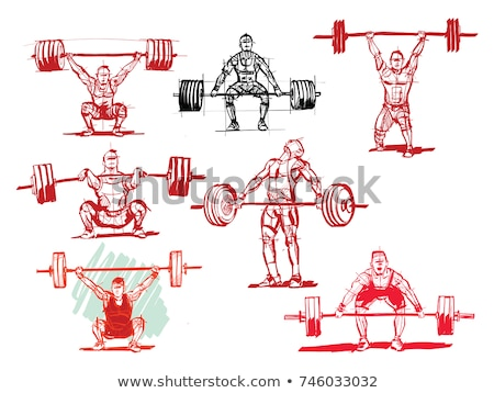 Súlyemelés vektor sziluettek ikon szett testépítés felszerlés Stock fotó © vectorikart