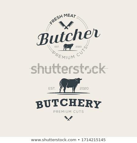 slager · winkel · teken · premie · rundvlees · label - stockfoto © andrei_