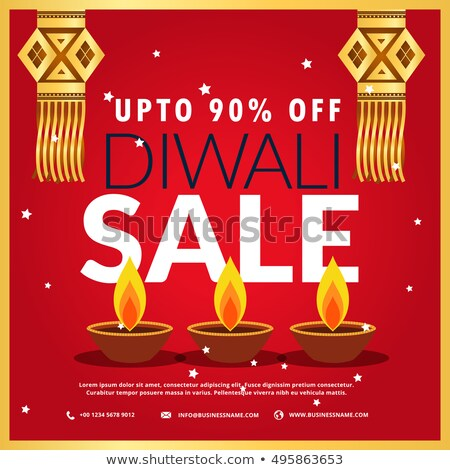 Diwali festiwalu sprzedaży plakat trzy wiszący Zdjęcia stock © SArts