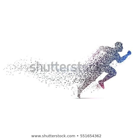 Homem corrida dinâmico partículas esportes Foto stock © SArts