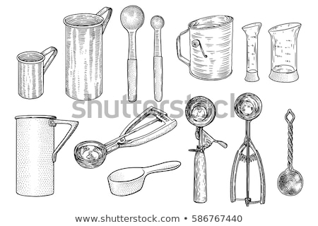 Kitchen, tools illustration, utensil, vector, drawing, engraving, cook, cooking, patisserie Stock photo © JenesesImre