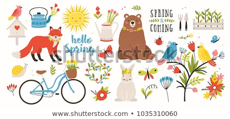 cute bunny with watering can and flower and hello spring letters stock photo © pravokrugulnik