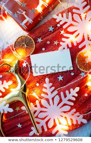 rectangular frame with small snowflakes stock photo © swillskill