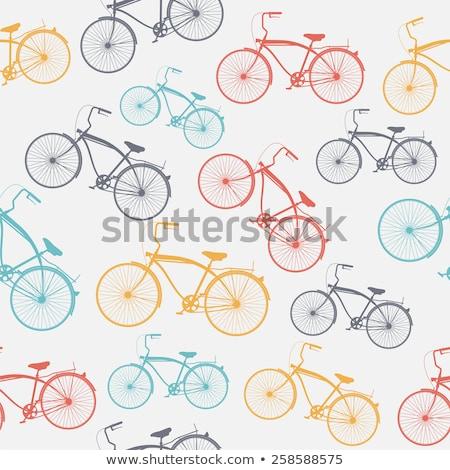 Silhouette illustration rétro vélo isolé blanche Photo stock © NikoDzhi