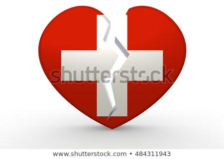 kırık · beyaz · kalp · şekli · bayrak · 3D - stok fotoğraf © tang90246