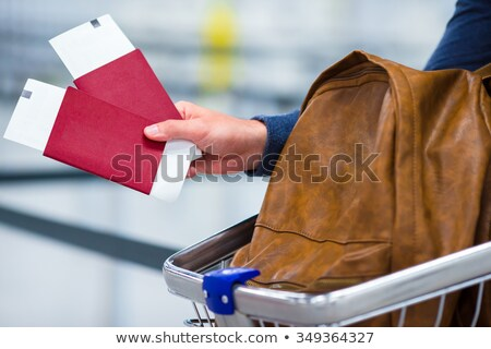 Person With Luggage Holding Passport And Boarding Pass Tickets Stock photo © AndreyPopov