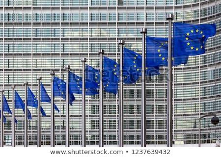 Zdjęcia stock: European Commission With European Flags