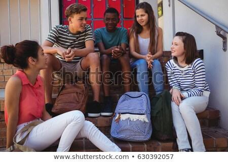 Boldog barátok egyéb lépcsőház bár nő Stock fotó © wavebreak_media