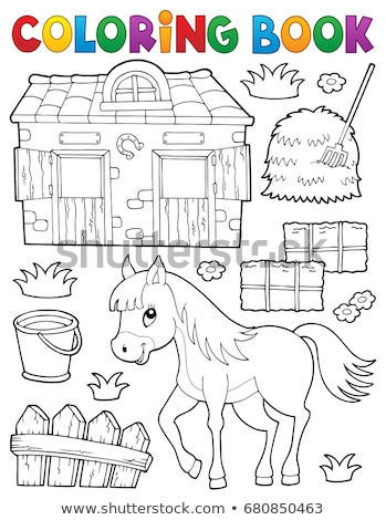 Coloring book horse and related objects Stock photo © clairev