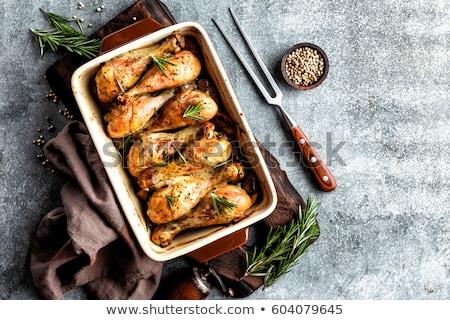 Grillowany pieczony kurczak nogi ciemne mięsa Zdjęcia stock © yelenayemchuk