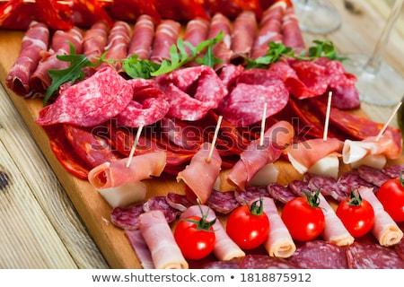 чоризо салями помидоры черри Ломтики белый продовольствие Сток-фото © Digifoodstock
