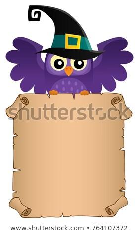 Halloween pergamen baglyok papír madarak állatok Stock fotó © clairev