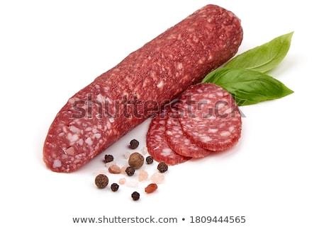 szeletek · száraz · szalámi · fűszer · fehér · piros - stock fotó © Digifoodstock