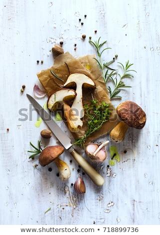 autumn cooking  background;  organic porcini Mushroom; seasoning Stock photo © Konstanttin