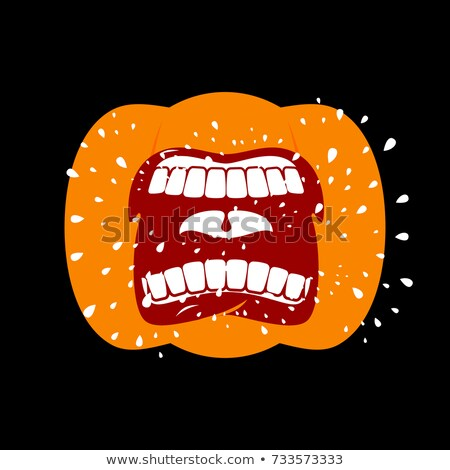 Pumpkin screams  open mouth for Halloween. pumpkin shout. Vector Stock photo © MaryValery