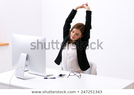 Foto stock: Empresária · sessão · tabela · escritório · mãos