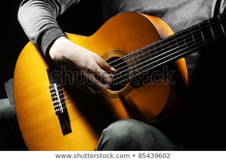 Six stringed acoustic guitar musical instrument Stock photo © orensila