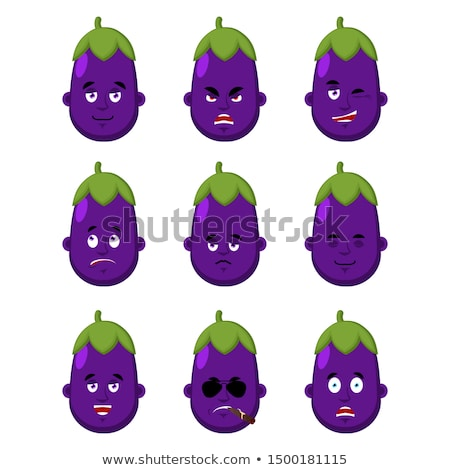 Eggplant face set. sleeping and evil emotion avatar. bewildered  Stock photo © popaukropa