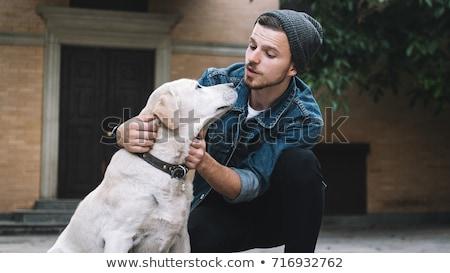 Ritratto uomo cane natura Coppia divertimento Foto d'archivio © IS2