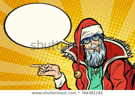 Hipster Santa Claus shows sideways and says comic cloud Stock photo © studiostoks