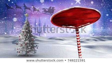 Wooden reindeer with sleigh 3D Stock photo © djmilic