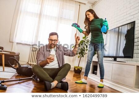 Fiatal pér otthon veszekedik férfi asztal szín Stock fotó © IS2
