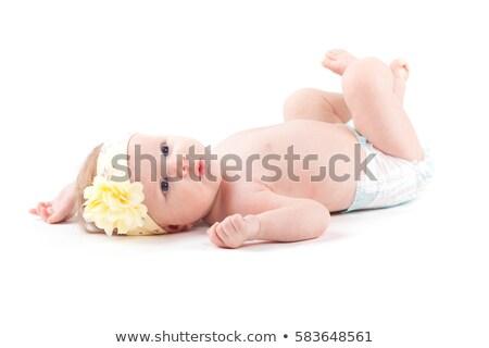 Stock fotó: Aranyos · kislány · pelenka · citromsárga · csomagolás · izolált