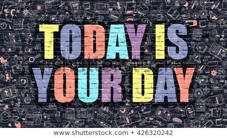 Dzisiaj dzień ciemne murem gryzmolić ikona Zdjęcia stock © tashatuvango