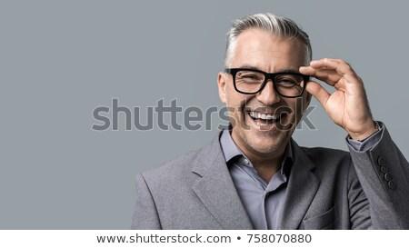 Portret knap smart zakenman man achtergrond Stockfoto © majdansky