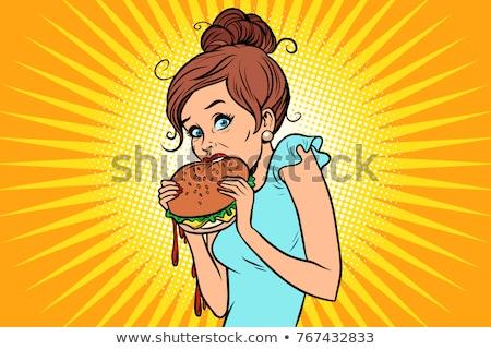 Excès de table restauration rapide femme manger Burger Photo stock © rogistok