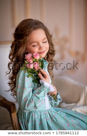 портрет · возбужденный · девочку · рождения · Hat - Сток-фото © deandrobot