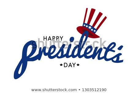 Boldog nap szöveg kalap szimbólum USA Stock fotó © orensila