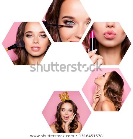 salão · de · beleza · bandeira · forma · make-up · colorido · lábios - foto stock © olena