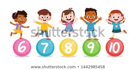 Gyerek fiú illusztráció kicsi gesztikulál szám Stock fotó © lenm