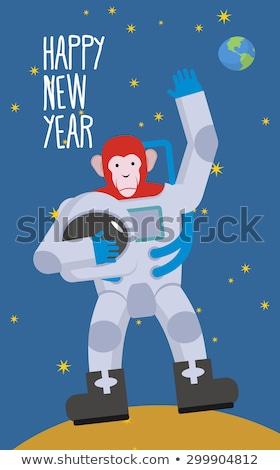 red monkey astronaut waving hand happy new year chimpanzees in stock photo © popaukropa