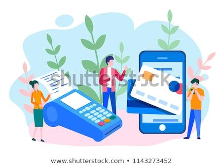 Online bankügylet poszter okostelefon bőr pénztárca Stock fotó © studioworkstock