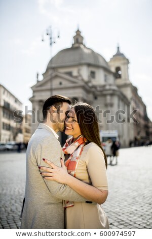 Young couple in love hugging posing in front of the Pantheon in  Stock photo © boggy