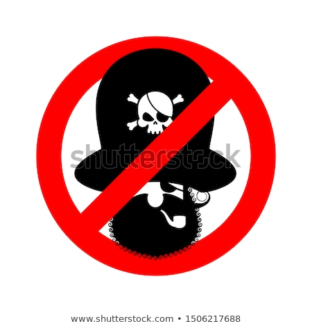 Stop pirate. Red prohibiting sign rover. Ban filibuster Stock photo © popaukropa