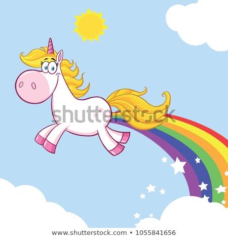 Gülen büyü karikatür maskot karakter gökkuşağı Stok fotoğraf © hittoon