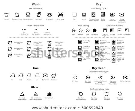 Szennyes törődés szimbólumok takarítás ikon szett mosás Stock fotó © Said