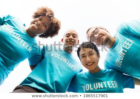 Stock photo: Woman smiling, blue sky