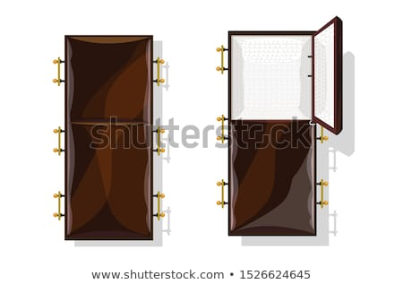 Open coffin isolated. Wooden casket vector illustration Stock photo © MaryValery