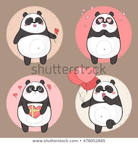 Glimlachend panda beer cartoon mascotte karakter Stockfoto © hittoon